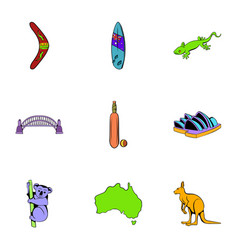 Australian continent icons set cartoon style vector