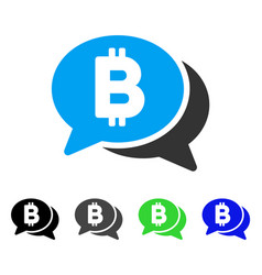 Bitcoin chat flat icon vector