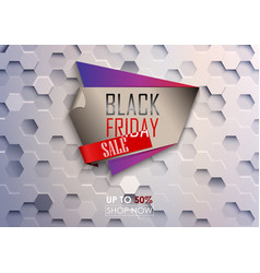 Black friday big sale poster with white hexagonal vector