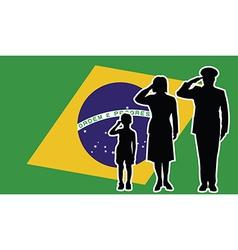 Brasil soldier family salute vector