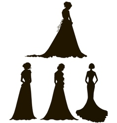 Brides young women in long dresses silhouettes vector