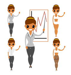 Business woman flat characters construction vector