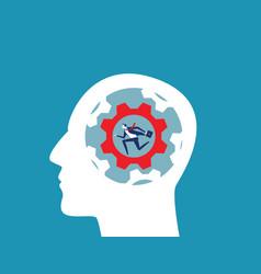 businessman running in gear inside head vector image