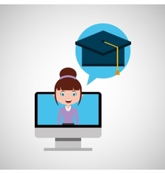 Cap graduation education online design girl vector