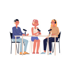 Cartoon people recording a podcast or radio show vector
