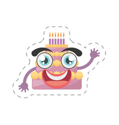 Cartoon sweet cake birthday cut line vector