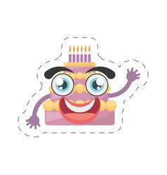 cartoon sweet cake birthday cut line vector image vector image