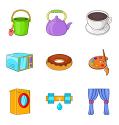 Children treat icons set cartoon style vector