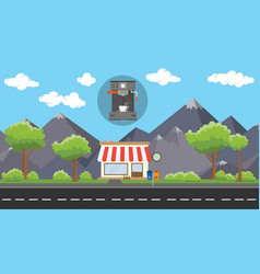 Coffee machine store business on beside street vector