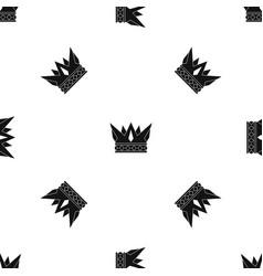 cog crown pattern seamless black vector image