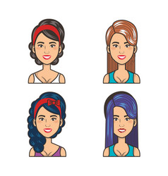 Collection of portraits beautiful girls style vector