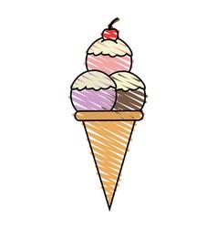 Color crayon stripe cartoon ice cream cone with vector