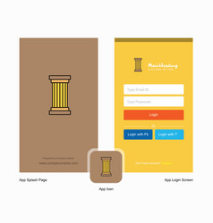 Company piller splash screen and login page vector