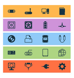 computer icons set with tablet phone battery vector image