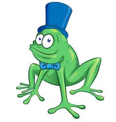 Cute cartoon party frog mascot character vector