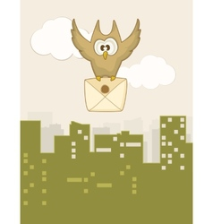Cute flying owl vector