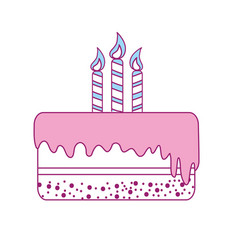 Delicious pastel with candles to happy birthday vector