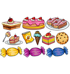 Different types of desserts on white vector image