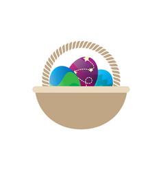 easter egg empty basket vector image