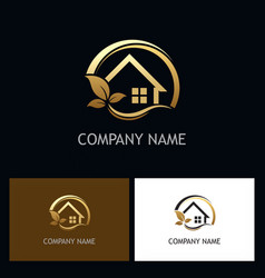 Eco house golden logo vector