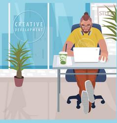 Fashionable designer working in modern office vector