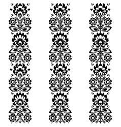 floral seamless folk art monochrome textile vector image