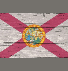 Florida state flag on old timber vector