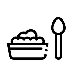 Food plate spoon icon outline vector