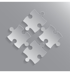 Four Grey Piece Puzzle Round Infographic 4 Step vector
