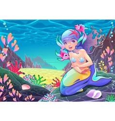 Funny cartoon mermaid in the seascape vector image