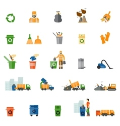 Garbage and trash flat icons set vector image