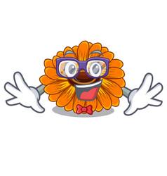 Geek calendula flowers in a cartoon basket vector