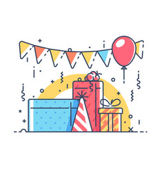 gifts for holiday with balloon vector image