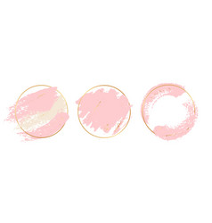 gold pink background circle gold frames vector image