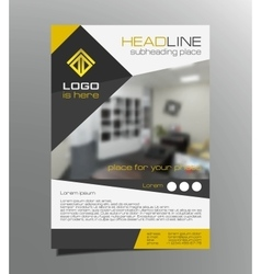 Grey yellow brochure flyer design leaflet vector