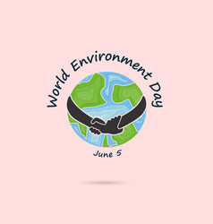 Hand and green leaves signworld environment day vector