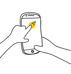 Hand touching phone screen scrolls on the screen vector