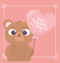 happy valentines day bear with balloon shaped vector image