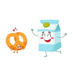 Hot crispy german pretzel and milk box characters vector