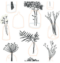 hygge seamless pattern of minimalistic glass vases vector image