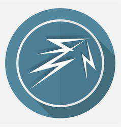 icon lightning arrowon white circle with a long vector image