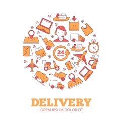 in circle shape of logistics vector image