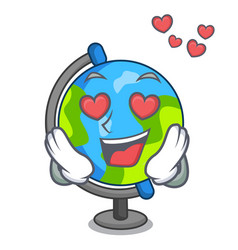 in love globe mascot cartoon style vector image