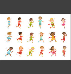 kids running set vector image