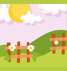 landscape farm wooden fence flowers hills grass vector image