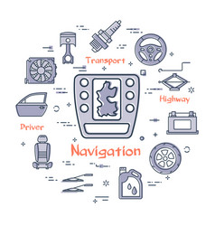 Linear round banner of navigation system vector