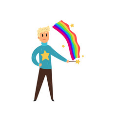 magician man creating colorful rainbow by magic vector image