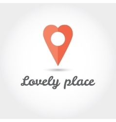Map pointer in the form of heart icon vector image