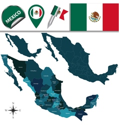 Mexico map with named divisions vector image