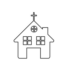 monochrome contour of church in white background vector image